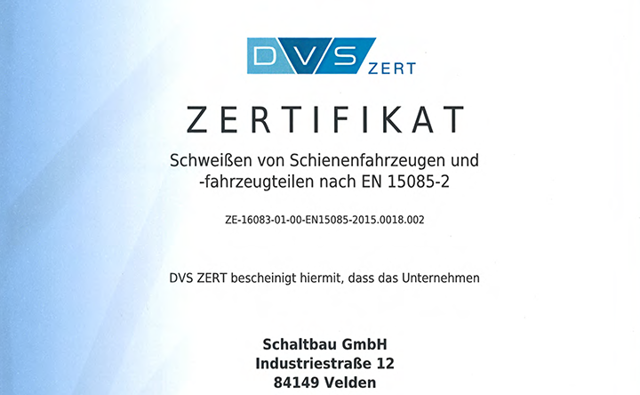 Certification for welding: EN 15085-2
